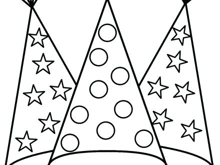 440x330 Birthday Party Hat Coloring Pages On Hats Cap Best Sheet Page
