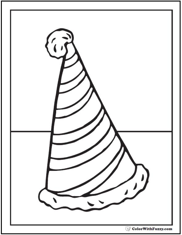 590x762 Birthday Hat Coloring Sheet Best Happy Birthday Wishes