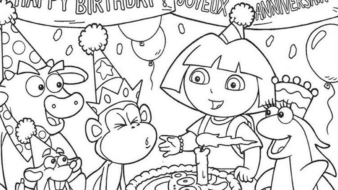 1100x618 Free Printable Happy Birthday Coloring Pages