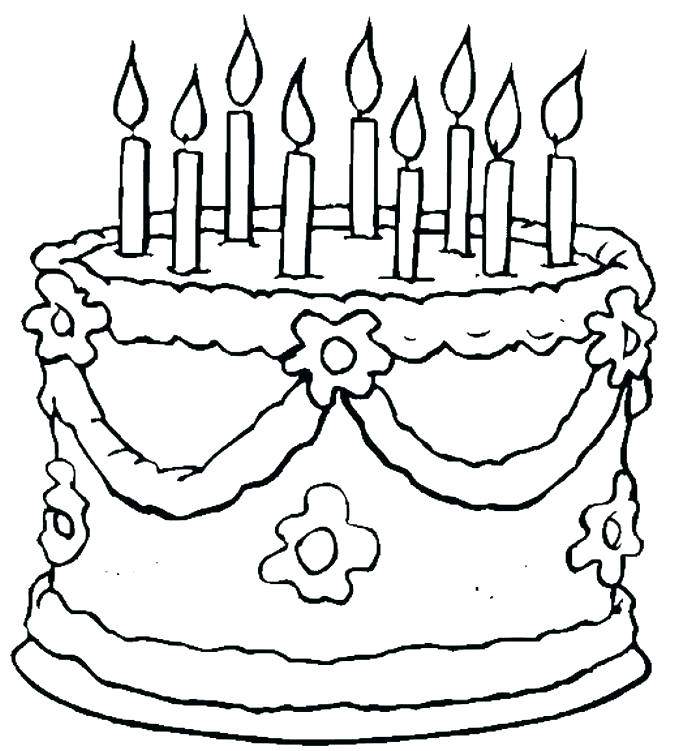 675x751 Blank Birthday Cake Coloring Page Coloring Pages Birthday Birthday