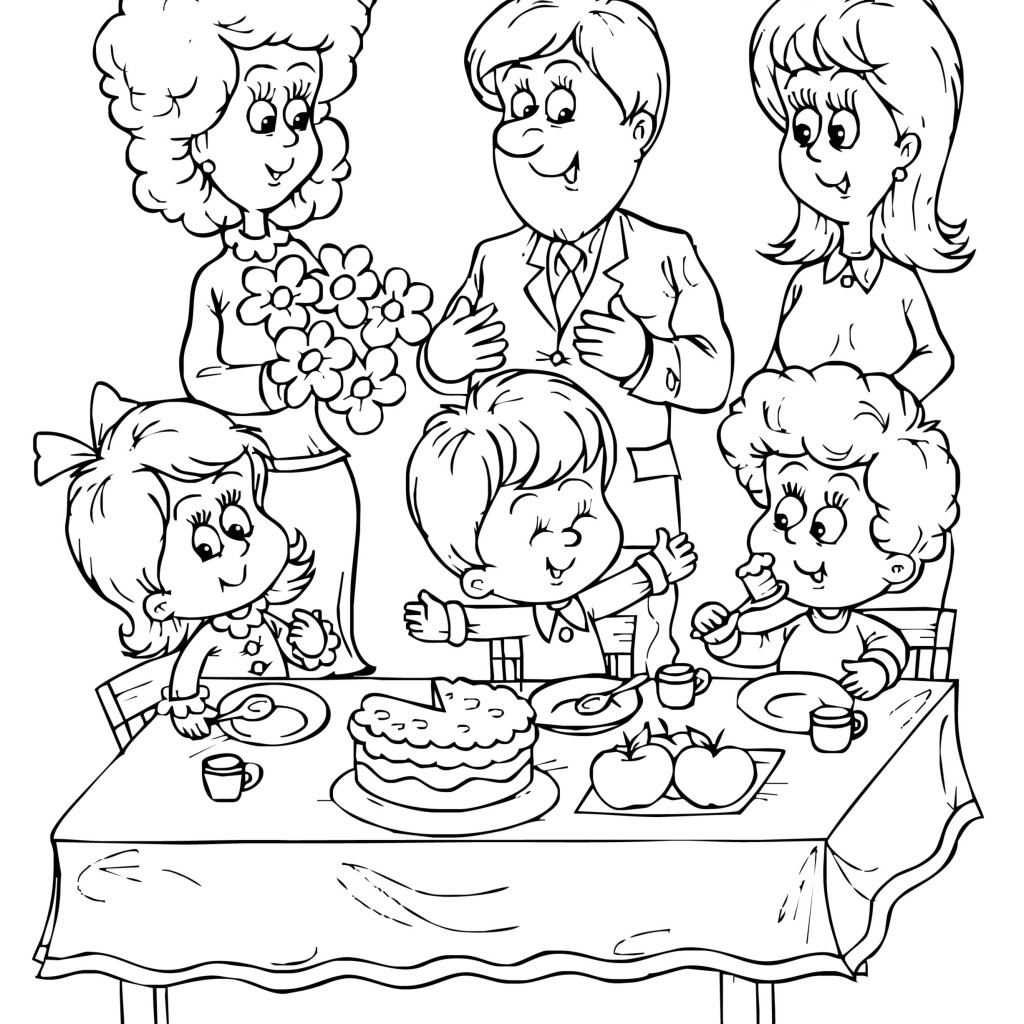 1024x1024 Drawing Of Birthday Party Birthday Party Coloring Pages Download