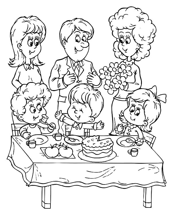 600x747 A Family Celebrate Birthday Boy Party Coloring Pages Best Place