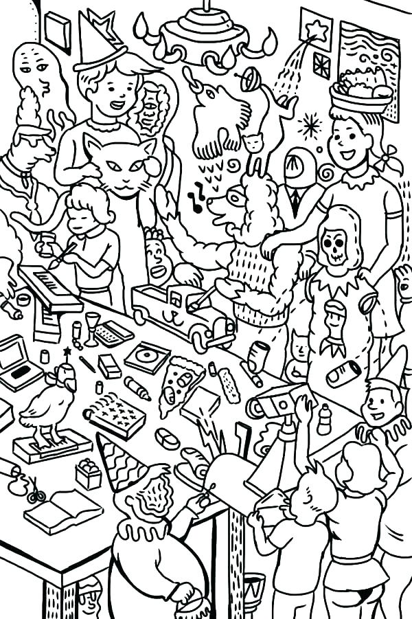 600x901 Party Coloring Pages Party Coloring Pages Birthday Party Coloring