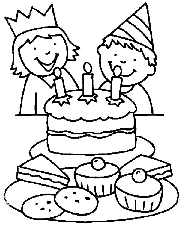 600x755 Two Kids Smiling Birthday Party Coloring Pages