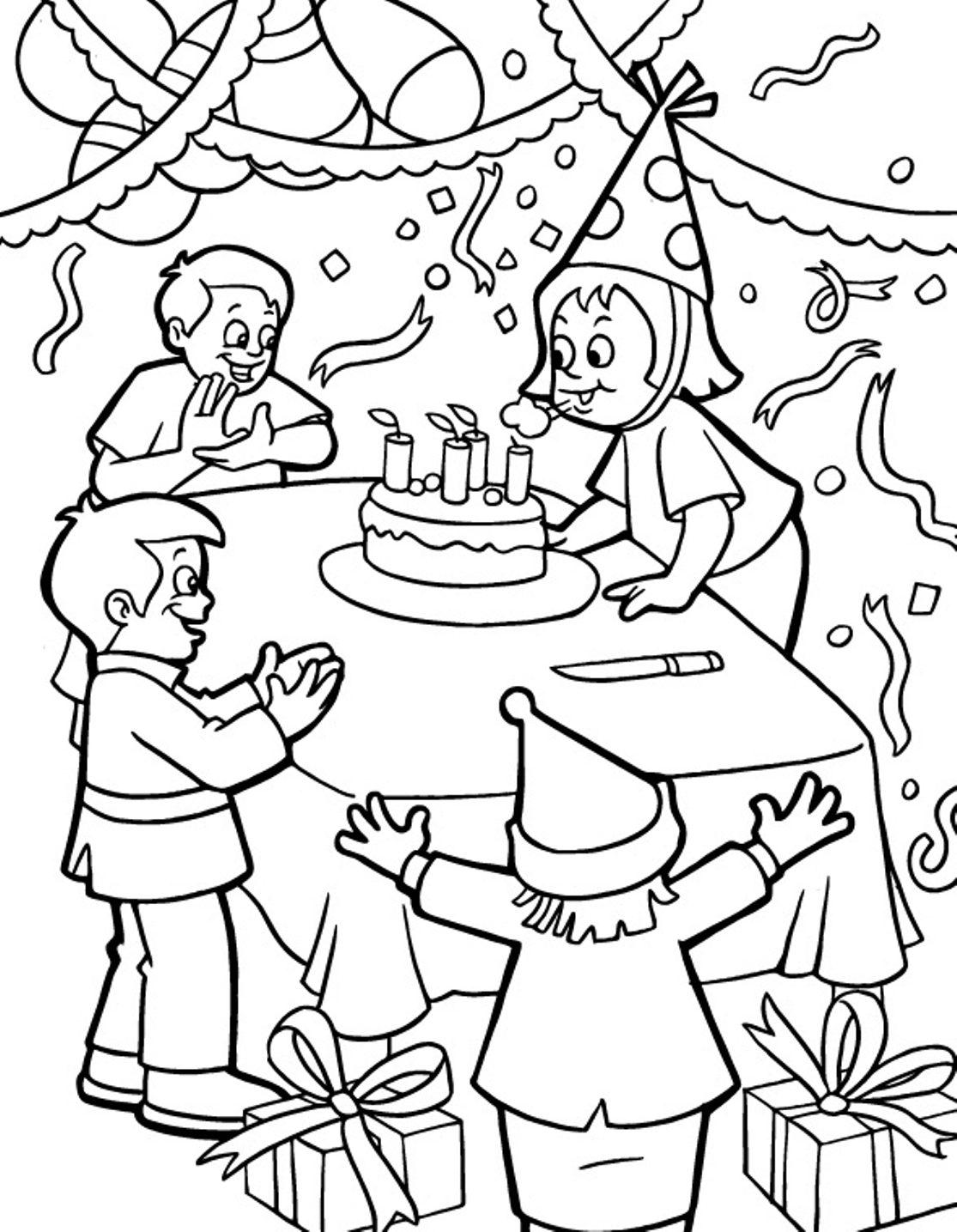 1115x1435 Birthday Party Colouring Birthday Party Coloring Pages And Inside