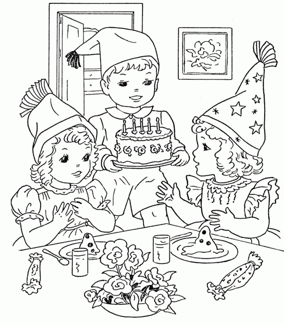 1200x1370 Birthday Party Scene Drawing Birthday Party Scene For Drawing