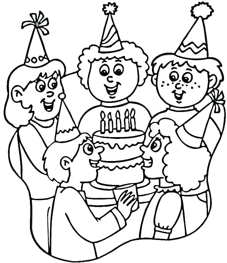 750x869 Birthday Party Coloring Pages Birthday Party Colouring Pages