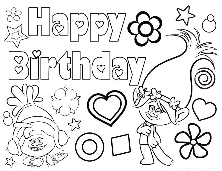 736x568 Birthday Party Coloring Pages Printable Happy Birthday Coloring