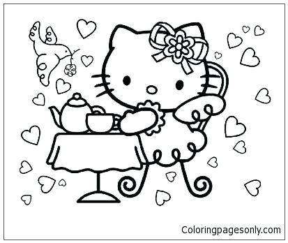 413x348 Party Coloring Pages Tea Party Coloring Pages Birthday Party Hat