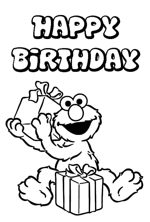 600x887 Elmo Curious About His Birthday Present Coloring Pages Best