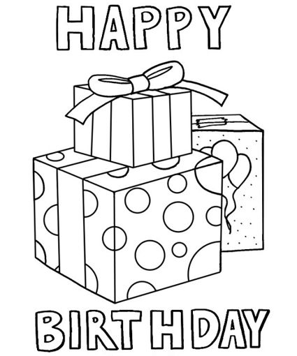 425x510 Birthday Present Coloring Pages Color Bros Birthday Coloring Pages