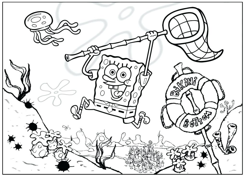 1024x738 Spongebob Coloring Page Black And White Coloring Page For You