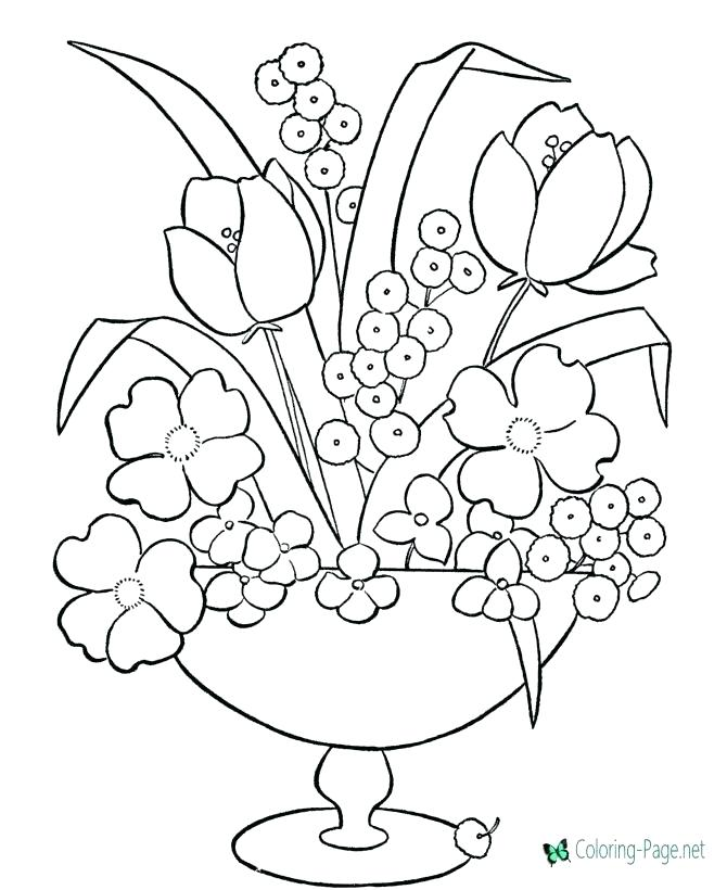 670x820 Coloring Pages Of Flowers In A Vase Coloring Pages Flower Coloring