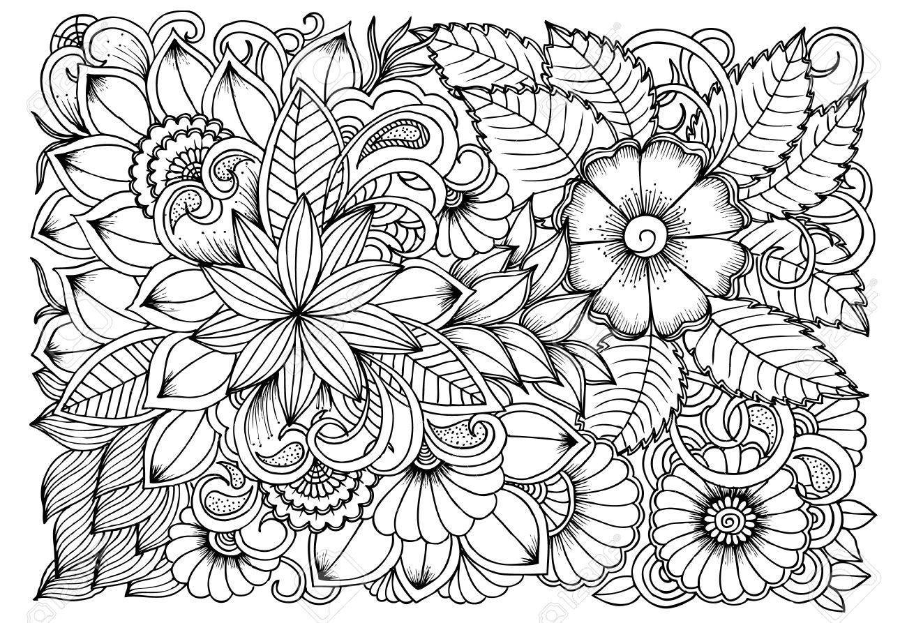 1300x893 Unbelievable Black And White Flower Pattern For Coloring Doodle