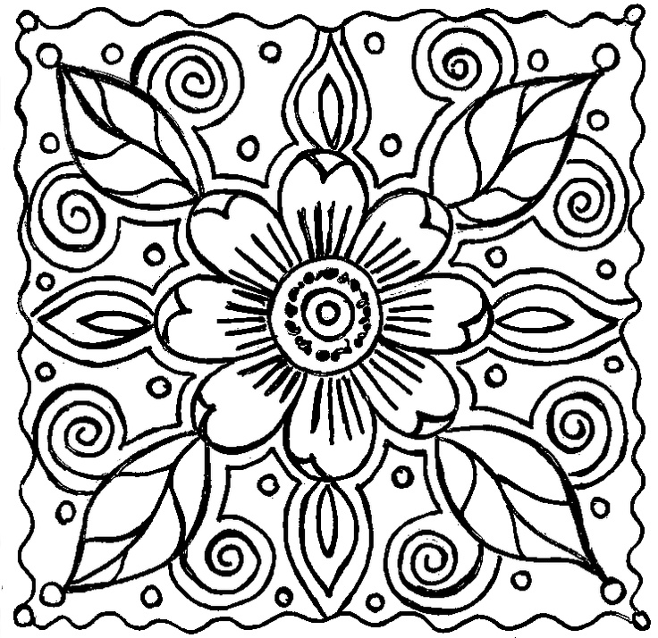 736x714 Abstract Flower Coloring Pages