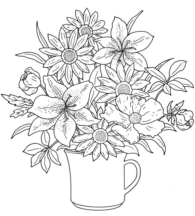 650x722 Adult Coloring Pages Flowers Printable Coloring Pages