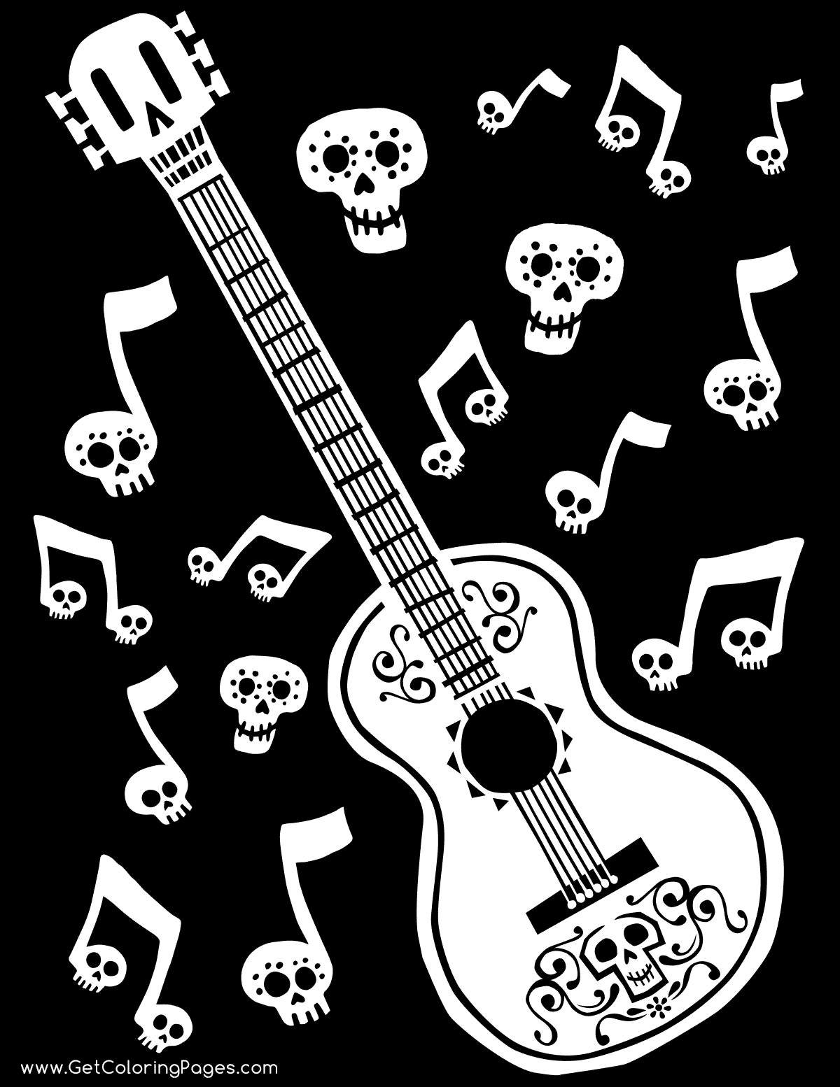 1200x1554 Coco Guitar Coloring With Black Background