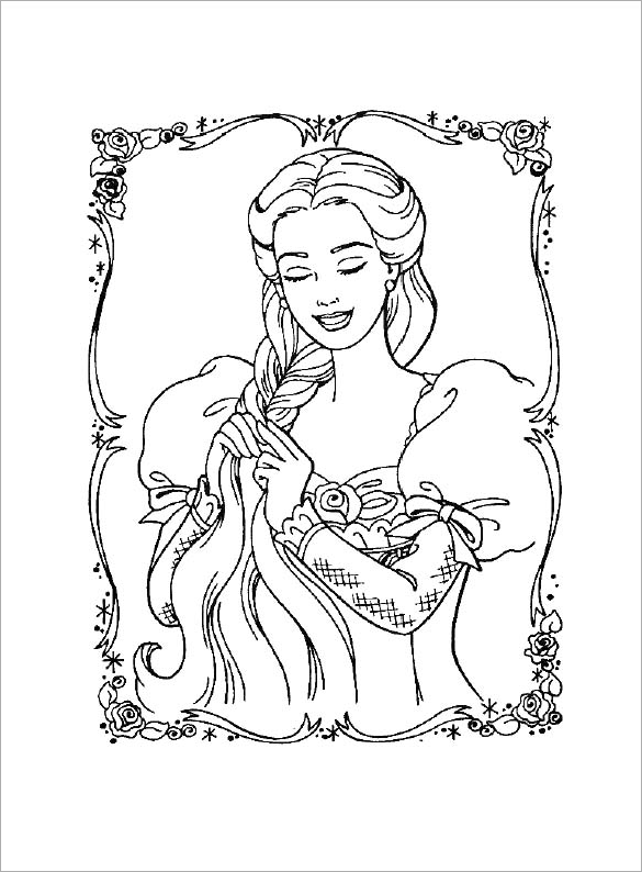 585x794 Barbie Coloring Pages Free Printable Word, Pdf, Png