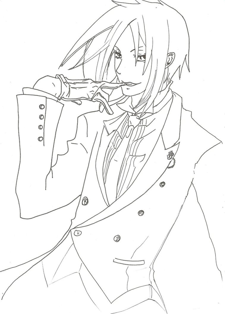 757x1056 Cool Black Butler Sebastian Coloring Pages Tearing Page