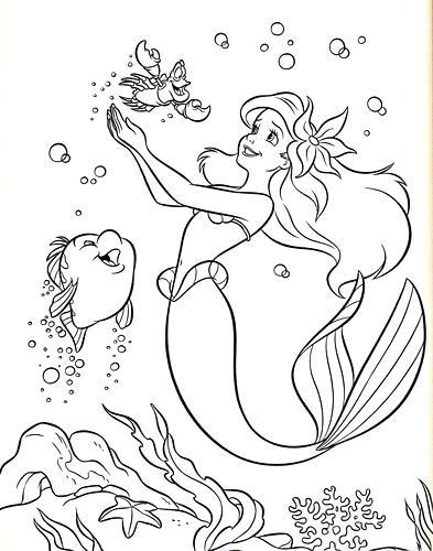 393x500 Sebastian Coloring Pages Coloring Pages Flounder Princess