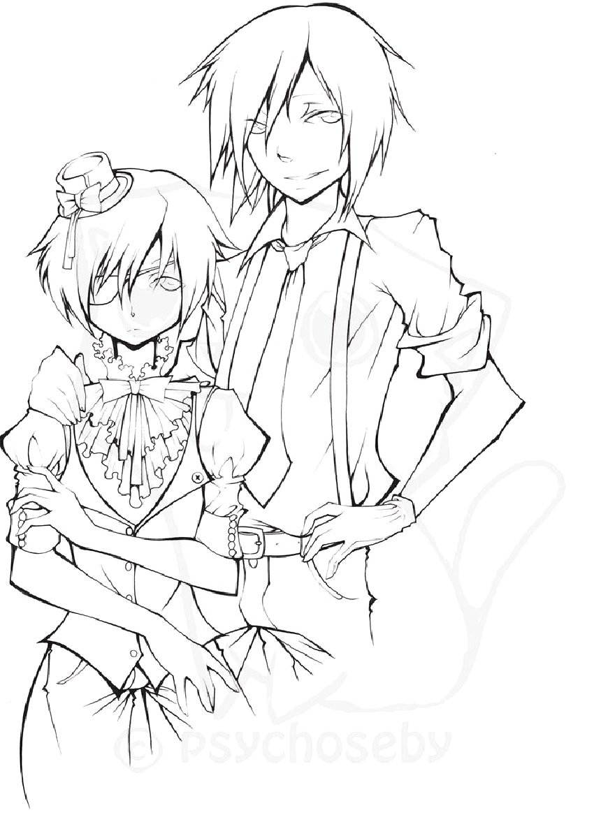 850x1200 Black Butler Coloring Pages Bltidm Inside