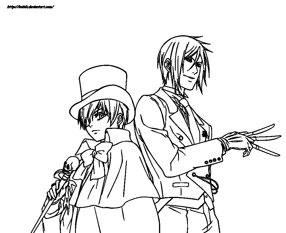 991x806 Black Butler Coloring Pages New Ciel Phantomhive And Sebastian