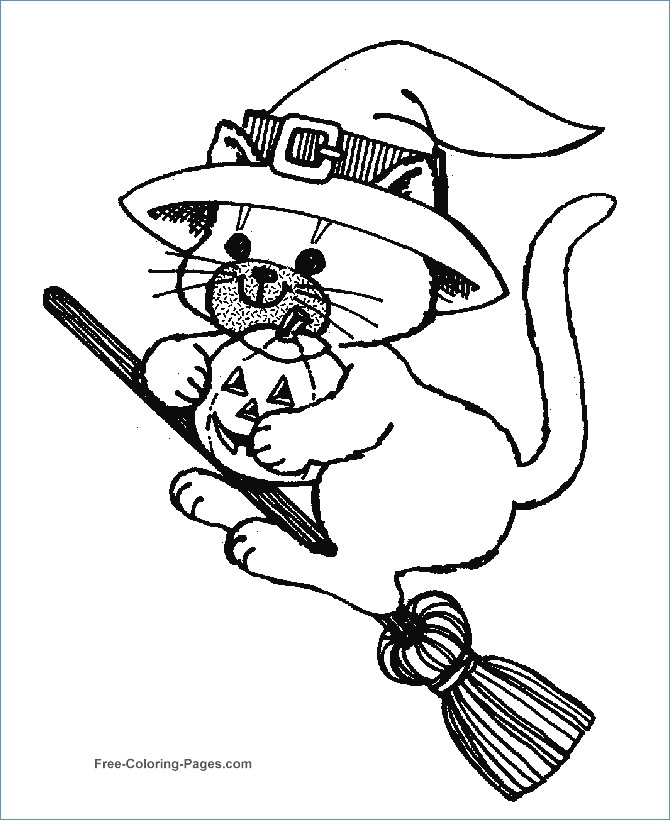 670x820 Halloween Cat And Pumpkin Coloring Pages