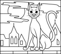 256x226 Black Cat Coloring Page Printables Apps For Kids
