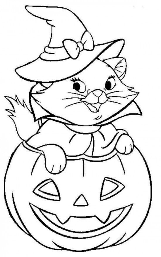 Black Cat Halloween Coloring Pages
