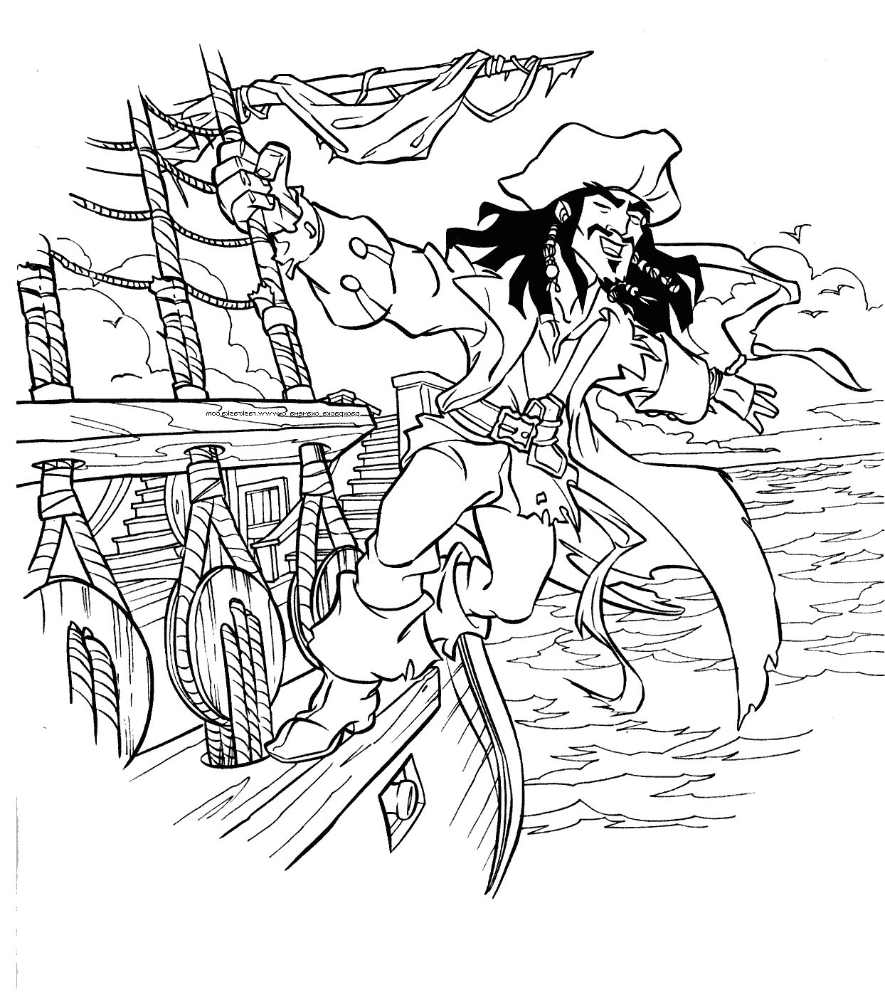 1244x1394 Captain Jack Sparrow On Black Pearl Coloring Pages Camp Within