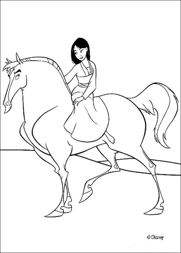 607x850 Mulan And Her Handsome Black Stallion Coloring Pages