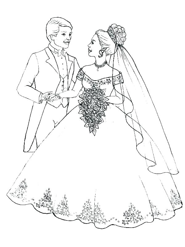 600x800 Bride And Groom Coloring Pages Free Bride And Groom Coloring