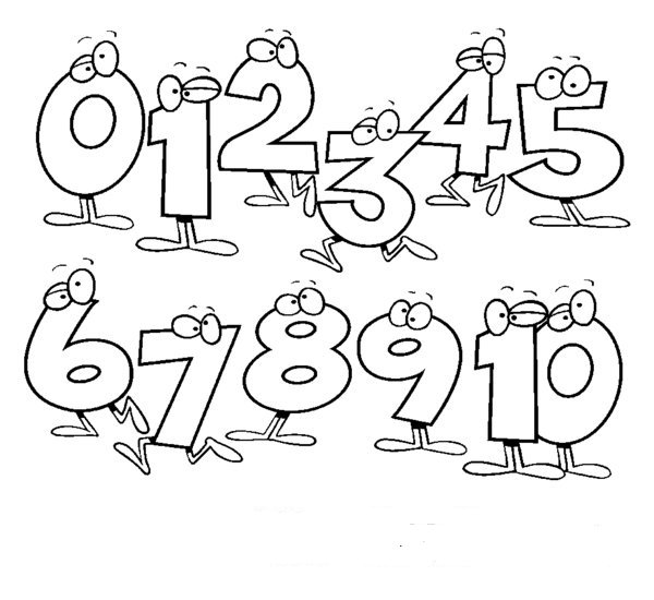 600x550 Numbers To Colour Number Clipart Black White Pencil