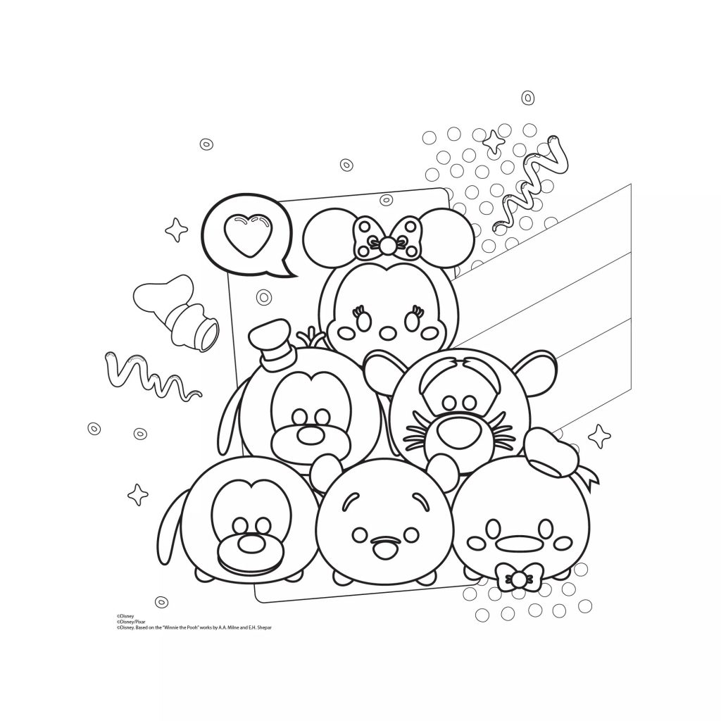 1024x1024 Tsum Tsum Coloring Pages Black And White