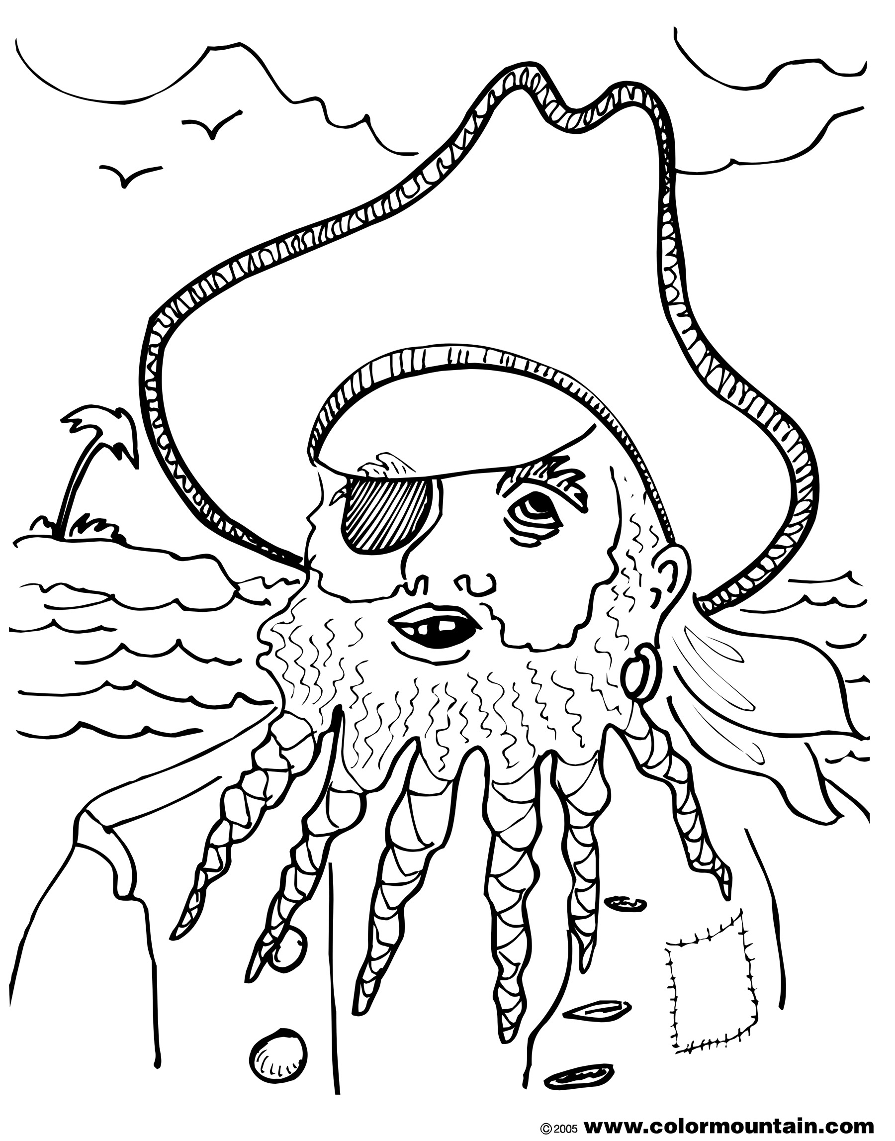 1800x2294 Free Pirate Coloring Page