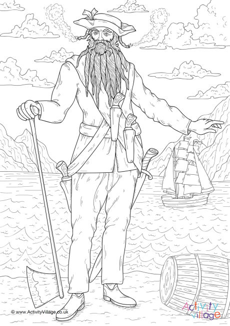 460x651 Blackbeard Colouring Page
