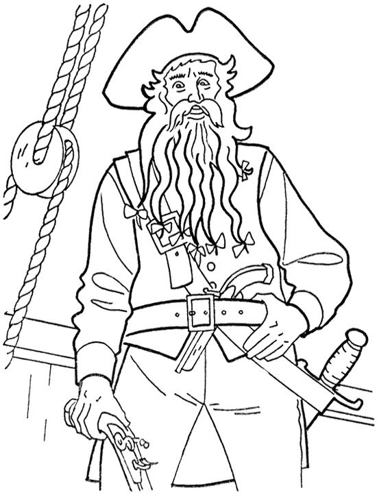 550x725 Captain Teague Pirates Of The Caribbean Coloring Page Kids