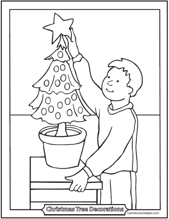 590x762 Christmas Tree Coloring Page Star On Top