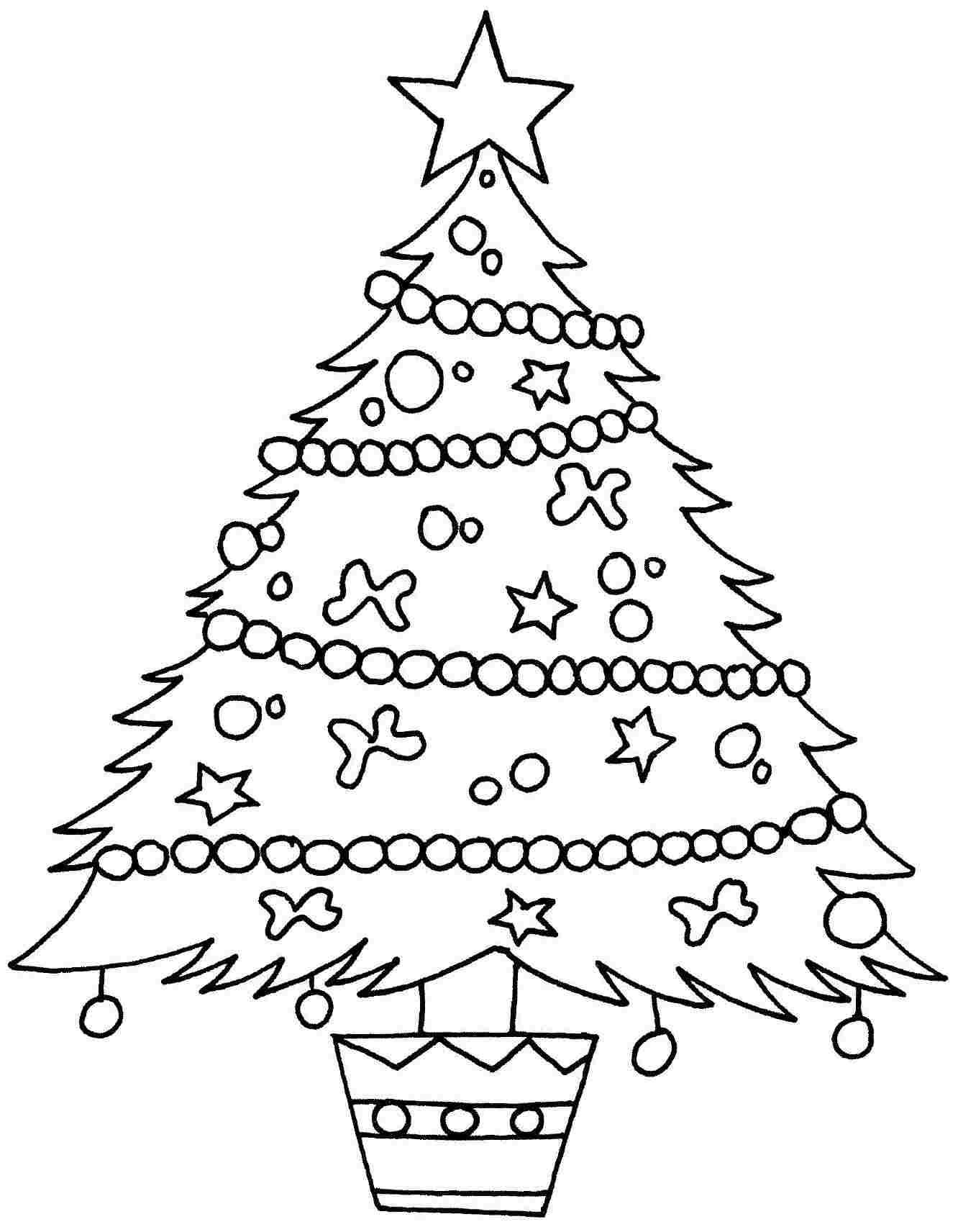 1332x1712 Christmas Tree Coloring Page Template