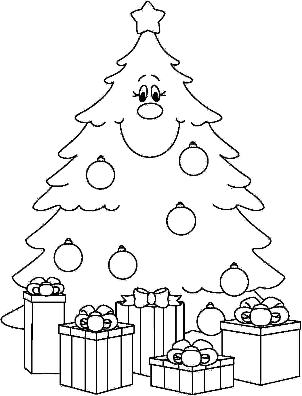 1050x1375 Christmas Tree With Presents Coloring Page In Pages For Kids