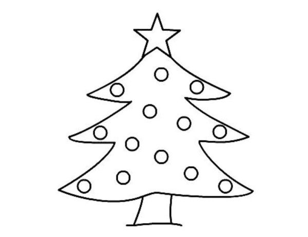 600x461 Easy Coloring Pages Blank Christmas Tree Coloring Page