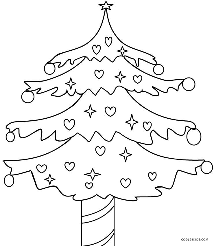 740x850 Printable Christmas Tree Coloring Pages For Kids