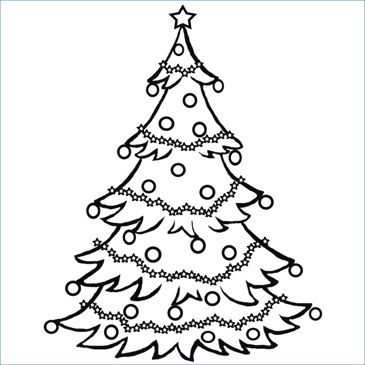 728x728 Blank Christmas Tree Coloring Page