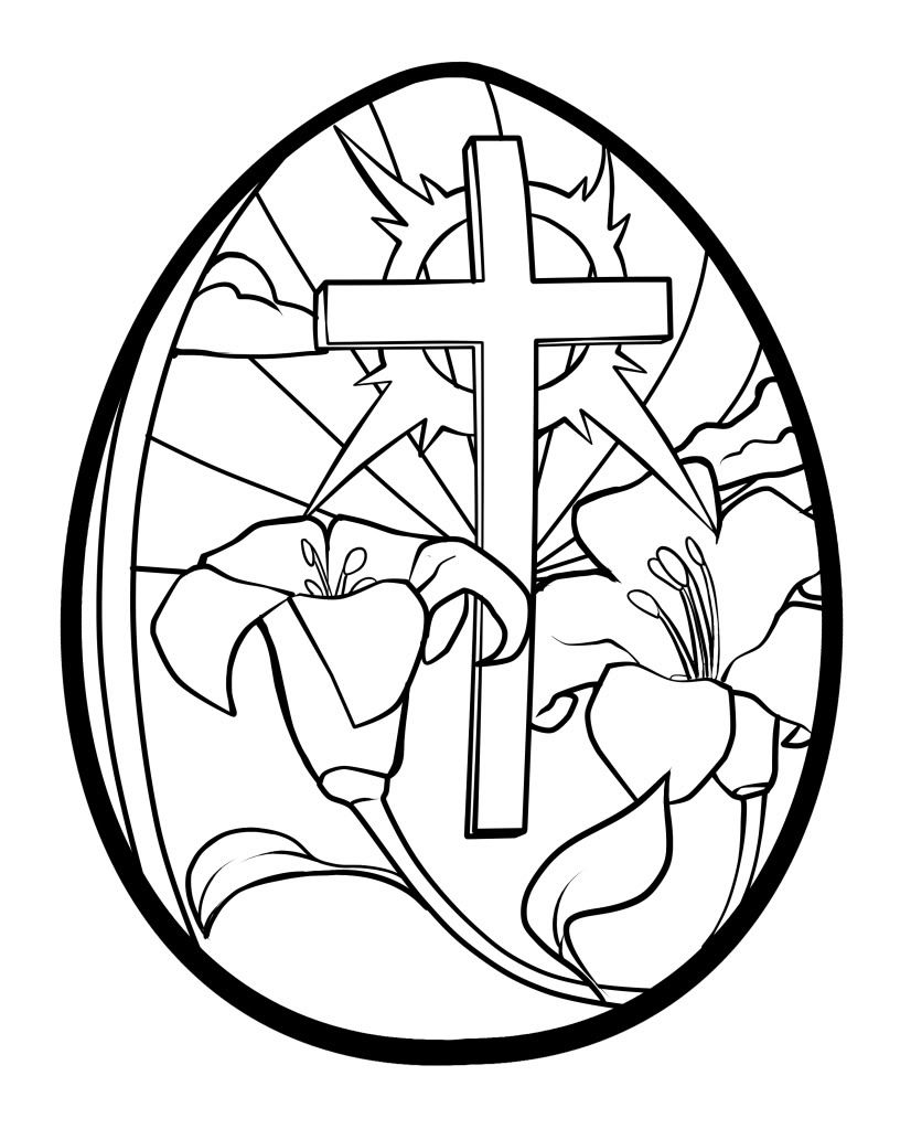 826x1023 Easter Egg Coloring Pages Printable Lilies And Cross Easter Egg
