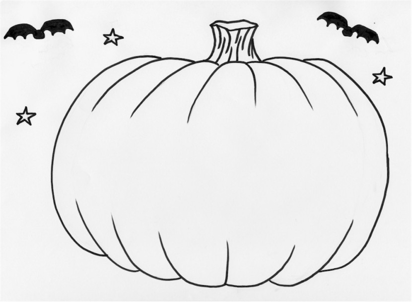 830x610 Blank Pumpkin Coloring Pages
