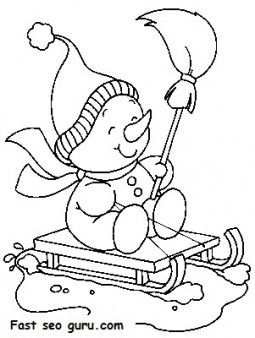 255x338 Printable Christmas Snowman Sledge Coloring Pages
