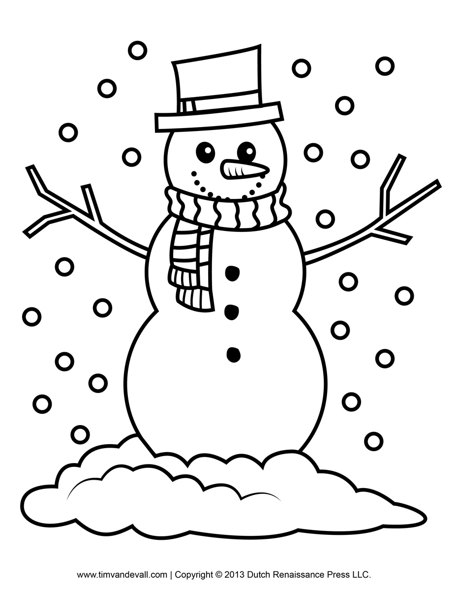927x1200 Simple Snowman Coloring Page