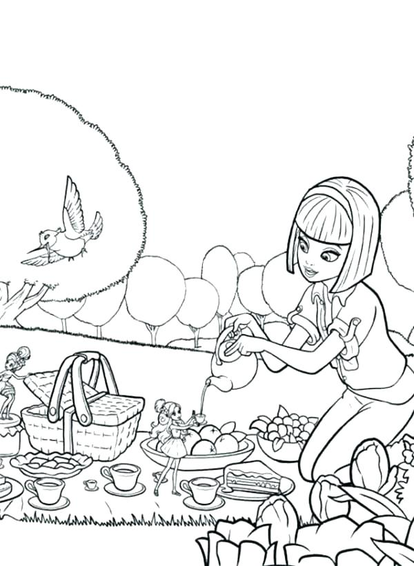 600x820 Picnic Coloring Pages Picnic Coloring Page Barbie Going Picnic