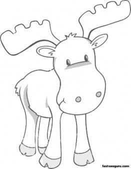 262x338 Printable Coloring Page Moose Kids Easy Coloring Pages