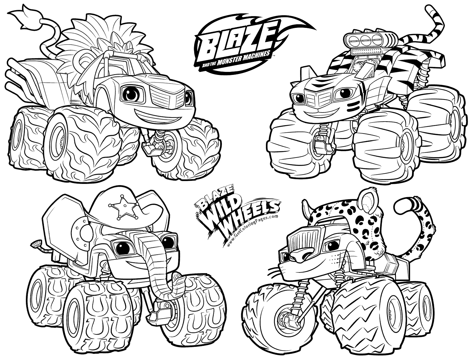 blaze and the machines coloring pages at